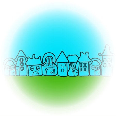 houses: illustration with cartoon houses Illustration