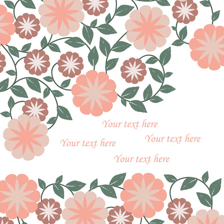 text pink: Vector summer flowers background isolated with sample text, pink chamomile flowers
