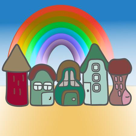 houses: Illustration with cartoon houses and rainbow
