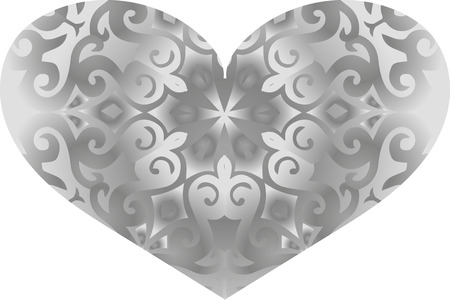 used ornament: Vector heart with white and black ornament, can be used for romantic symbols Illustration