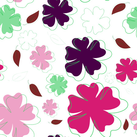 lilas: Bright flowers and leaves, seamless pattern for decorations Illustration