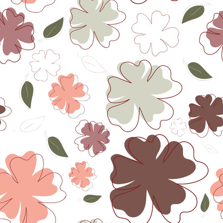 patter: Pastel flowers and leaves, seamless patter for decorations