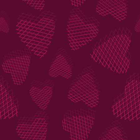 crimson: Vector seamless pattern with hearts on a crimson background Illustration