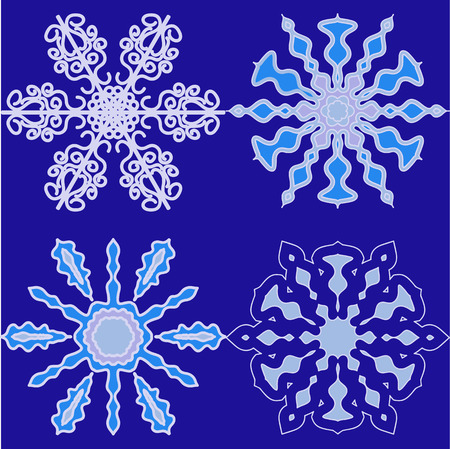 ny: Set of snowflakes for Christmas and NY decorations Illustration