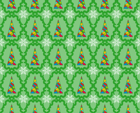green background: Seamless background with Christmas trees, Christmas cards and textiles.