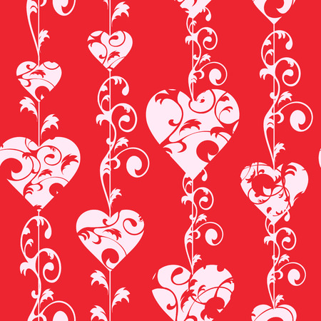 love image: Love seamless pattern. White hearts and swirls on red background