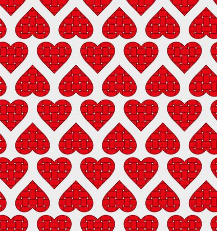 weaving: Stripe weaving red hearts seamless pattern