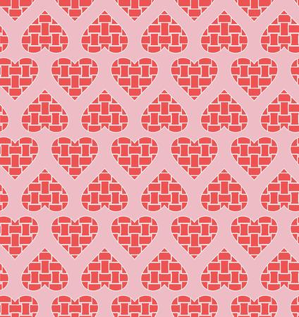 weaving: Stripe weaving pink hearts seamless pattern Illustration