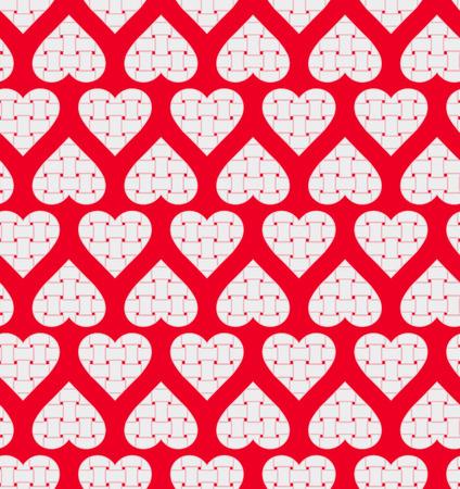 weaving: Stripe weaving white hearts seamless pattern Illustration