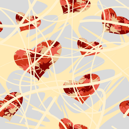 pictorial art: Vector seamless pattern with red colorful hearts and beige splashes on the white background Illustration