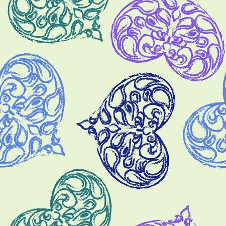 corazones azules: Modelo inconsútil del amor. corazones azules con remolinos en el fondo de color beige Vectores