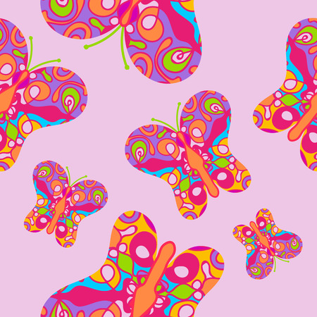 scrollwork: Seamless pattern with colorful butterflies on pink background