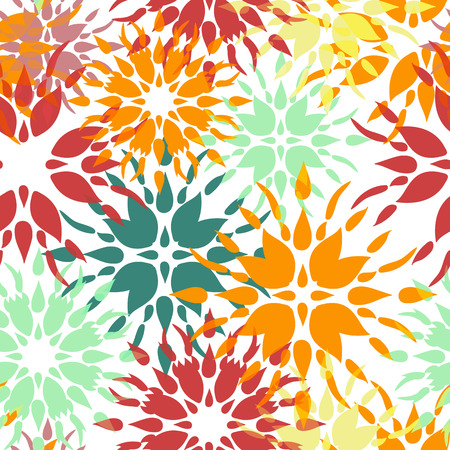 textile pattern: Floral seamless ornamental texture, endless pattern with flowers looks like retro snowflakes or snowfall. Illustration