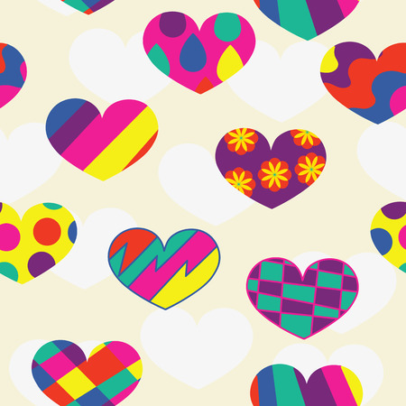 unusual valentine: Hearts with geometric pattern, abstract romantic background. seamless pattern Illustration