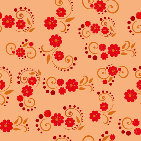 rosy: Vector seamless pattern with colorful summer flowers on a golden background
