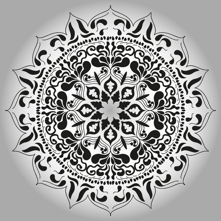 Mandala persian, turkish, arabic, circular pattern design. Ornamental round doodle flower isolated on white background.