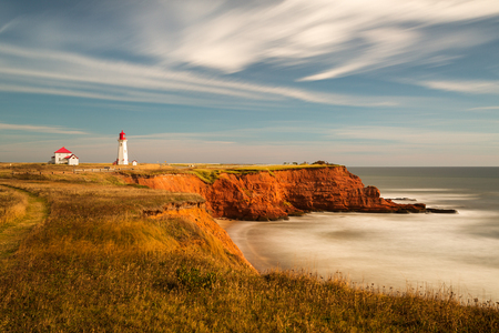 Long exposure  lighthouse in Havre-Aubert on the Magdalen Islands, Quebec