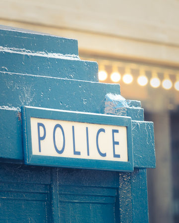 Close-up of A Vintage Blue British Police Box