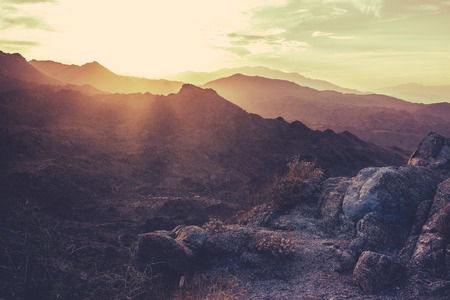 Sunset  Mountains Near Palm Springs California Stock Photo