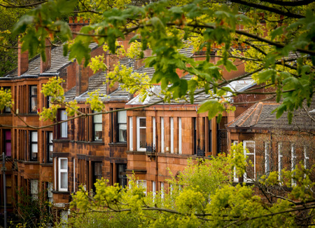 Row of Red Sandstone Tenement Flats Southside of Glasgow Stock Photo