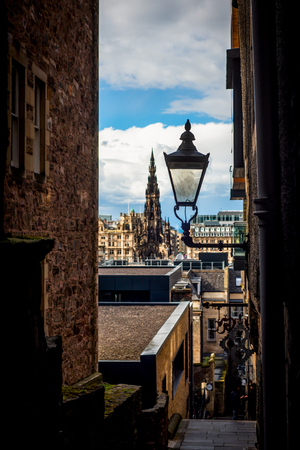 View Over Edinburgh With an Antique Lamp in the Foreground