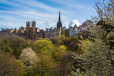 The Royal Mile in Edinburgh With Princes Street Gardens in the Foreground