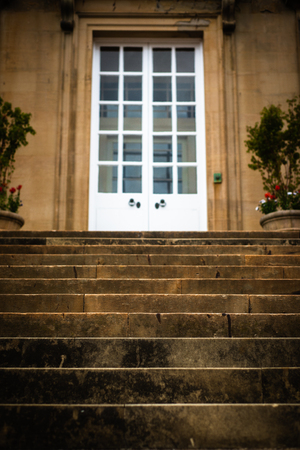 Grand Stone Stairs Lead to the Entrance of a Stately Home