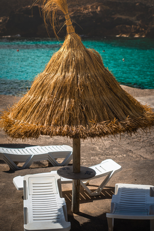 Sun Shade and Loungers At a Beach Bar, Mallorca, Balearic Islands