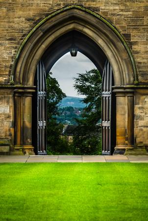 View of Glasgow Through Open Doors Stock fotó