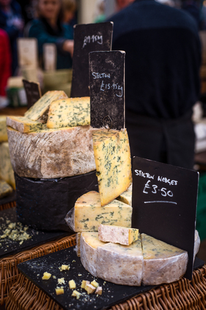 Cheese for Sale at the Market in Frome Somerset England