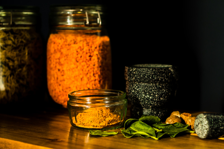 Spices and Seasonings With Mortar and Pestle and Rice and Lentils Stock fotó