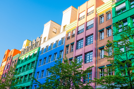 Brightly Colored Apartments on a Street in Germany Stock fotó