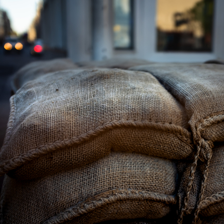 Sandbag Barricade at CheckPoint Charlie at Dusk
