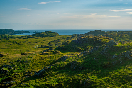 View Over Fields to the Sea in Summer on the Island of Iona in Scotland