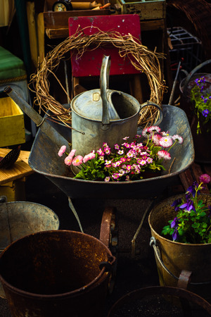 Buckets, Watering Can, Wheelbarrow and Plants in a Junk Shop Stock fotó