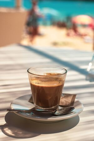 Coffee at a Beach Cafe on the Island of Mallorca in the Mediterranean