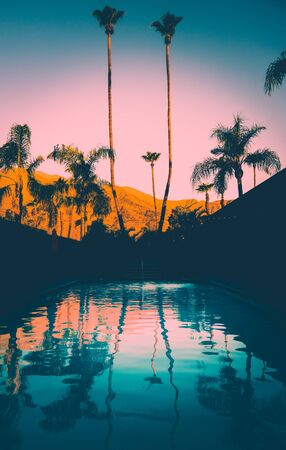 Vintage Hotel Pool With Mountains and Palm Trees