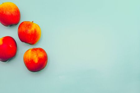 Healthy Eating Background with Red Apples and Pastel Blue Background Stock fotó