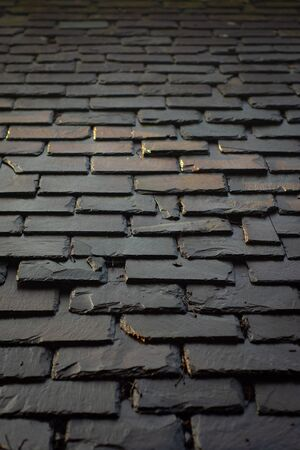 Traditional Slate Tiles on the Roof of a Historic Home in Glasgow Scotland UK