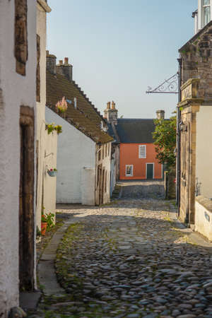 Colorful Cottage at the End of a Cobbled Street in Culross, Fife, Scotland