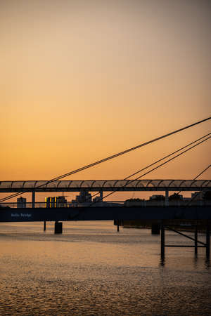 Bells Bridge on the River Clyde at Sunset in Glasgow Scotland