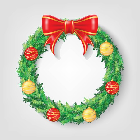 Christmas Wreath with Red Ribbon and Christmas balls Vectors design. Realistic Christmas ring illustration. Properties, decoration, and element for christmas and new year event Ilustração