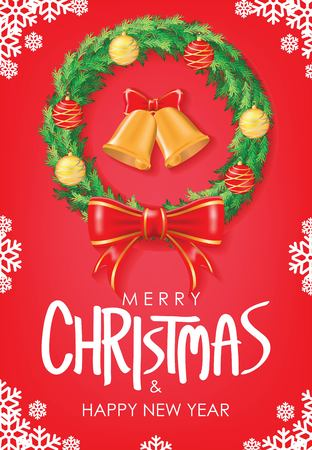 Merry Christmas & Happy New Year Greeting. Christmas Wreath with Red Ribbon and Christmas balls on Red Background Vectors design. Poster, card, decoration Ilustração