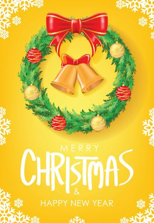 Merry Christmas & Happy New Year Greeting. Christmas Wreath with Red Ribbon and Christmas balls on Yellow Background Vectors design. Poster, card, decoration