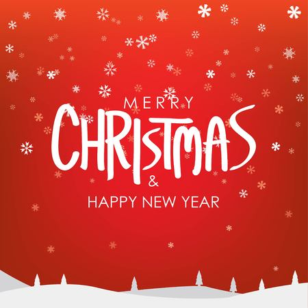 Merry Christmas & Happy New Year Greeting on Snowfalls Scenery. Bright Red Vector Background.