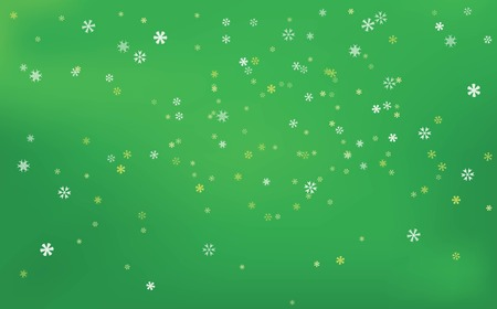 Snowfalls Scenery in Bright Green Vector Background.