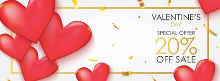 Valentine's Day Sale Banner. Red Hearts with Gold Confetti on White Background Vector Design.