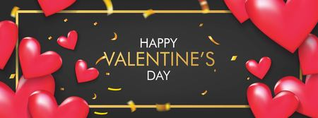 Happy Valentine's Day banner. Red Hearts with Gold Confetti on Black Background Vector Design.