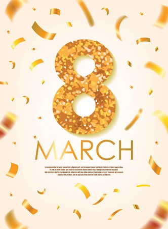 Gold 8 March with Scattered Gold Confettis. International Women's Day Vector Design.