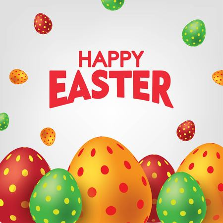 White Happy Easter Card with Colorful Eggs. Falling Easter Eggs background Vector illustration.